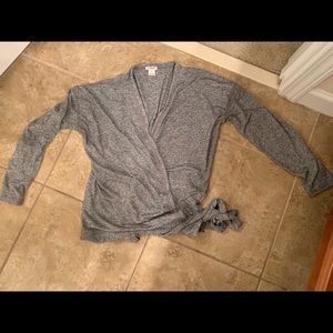 J crew wrap shirt marl gray